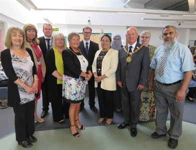 Nicaraguan Ambassador in the centre with the Mayor and Mayoress of Nuneaton and Bedworth