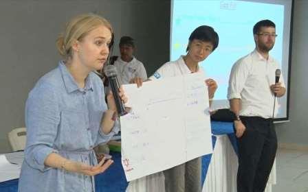 Liz Stevenson and Joe Whittington with a MINED education adviser from Taiwan