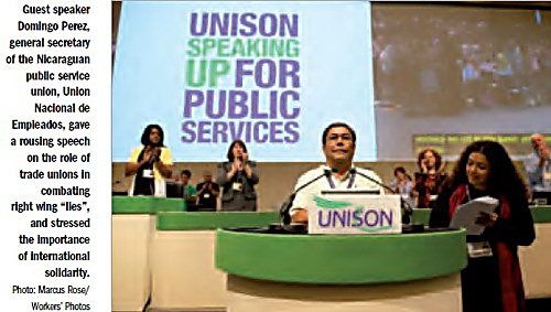 Domingo Perez pictured receiving a standing ovation after addressing the UNISON Local Government conference in Manchester. Credit: UNISON National Newsletter, July 2011.