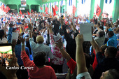 Nicaraguan trade unions vote to pass declaration in defence of Nicaragua's sovereignty, self-determination, independence and right to peace. Pic: el19digital