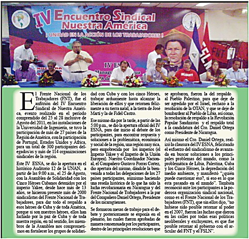 Article about the ESNA Forum closure event featured in the UNE Bulletin. With thanks to Domingo Perez, UNE's General Secretary for the information